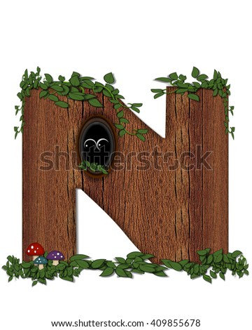 """The letter N, in the alphabet set """"Log"""" is filled with wood texture.  Vines and colorful mushrooms grow around letter.  Some letters have knot holes with peeking eyes. - stock photo"""
