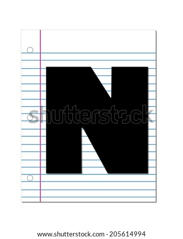 "The letter  N, in the alphabet set ""Start of School"", is black.  Letter is setting on a piece of notebook paper.  This set coordinates with Alphabet Start of School Two which has children and pencils. - stock photo"