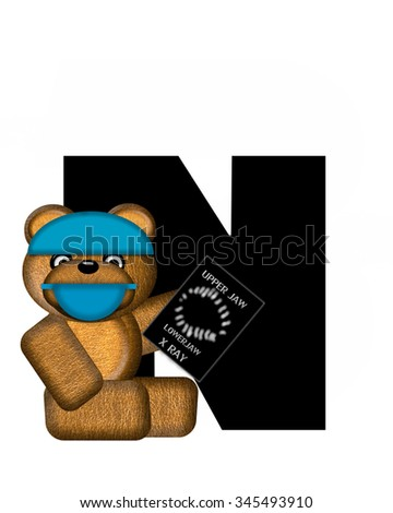 "The letter N, in the alphabet set ""Teddy Dental Checkup,"" is black.  Teddy bear wearing a dental mask and hat represents dentist holding various dental tools.   - stock photo"