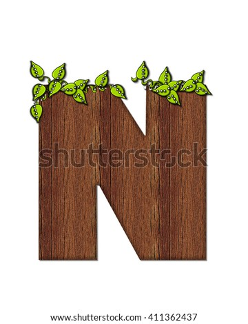 "The letter N, in the alphabet set ""Woodsy,"" is filled with wood grain and resembles a tree. Three dimensional vines are spread across top of letter."