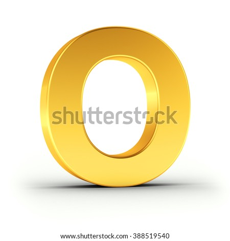 The Letter O as a polished golden object over white background with clipping path for quick and accurate isolation. - stock photo