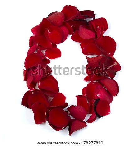 The letter O in love is written with rose petals. White background. - stock photo