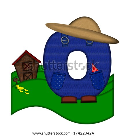 """The letter O, in the alphabet set """"Down on the Farm,"""" is dressed in denim overalls complete with pockets.  Letter sits on farm scene with rolling hills, barn, and ducks. - stock photo"""