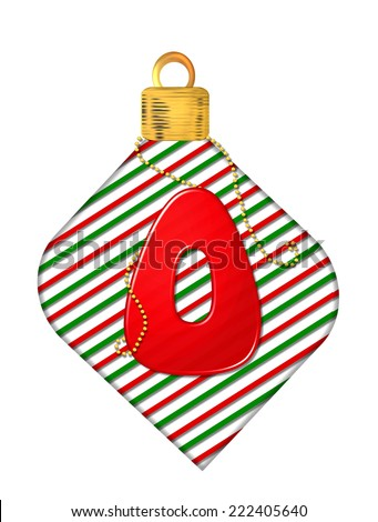 "The letter O, in the alphabet set ""Pinstripe Ornament"", is red.  Letter sits on red and green striped Christmas ornament. - stock photo"