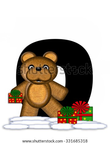 """The letter O, in the alphabet set """"Teddy Christmas,"""" is black and sits on pile of snow.  Teddy Bear and presents decorate each letter. - stock photo"""