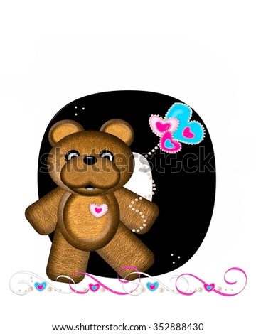 """The letter O, in the alphabet set """"Teddy Valentine's Cutie,"""" is black.  Brown teddy bear holds heart shaped balloons in pink and blue.  String of pearls serve as string. - stock photo"""