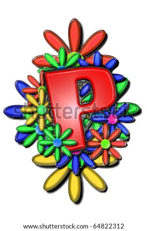 "The letter P from ""Alphabet Set Vinyl Flower Cushion"", has a 3d distressed vinyl appearance with glued edges.  Letter sits on a cluster of daisies in red, blue and yellow."