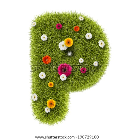 """The letter """"P"""" of grass and flowers  - stock photo"""