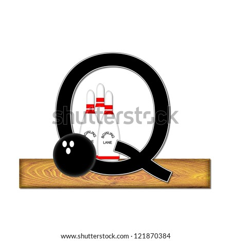 "The letter Q, in the alphabet set ""Bowling"", is black with white border.  Bowling ball and pins sit on wooden lane with letter."