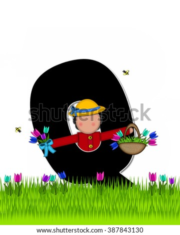 "The letter Q, in the alphabet set ""Children Tulip Patch"" is black outlined with white.  Children hold tulip bouquet and stand in colorful tulip patch. - stock photo"