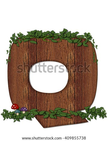 """The letter Q, in the alphabet set """"Log"""" is filled with wood texture.  Vines and colorful mushrooms grow around letter.  Some letters have knot holes with peeking eyes. - stock photo"""