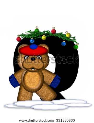 """The letter Q, in the alphabet set """"Teddy Christmas Boughs,"""" is black and sits on pile of snow.  Teddy Bear wearing cap and mittens, decorates letter with Christmas boughs and ornaments. - stock photo"""