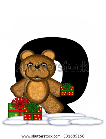 """The letter Q, in the alphabet set """"Teddy Christmas,"""" is black and sits on pile of snow.  Teddy Bear and presents decorate each letter. - stock photo"""