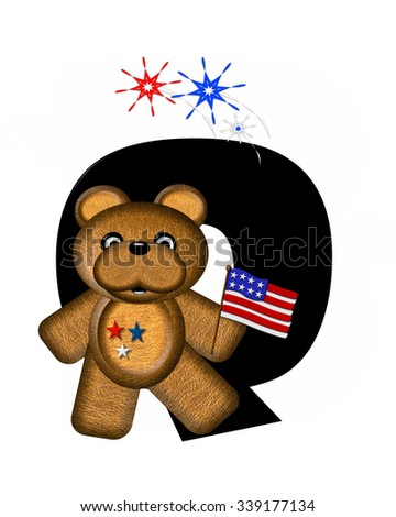 "The letter Q, in the alphabet set ""Teddy 4th of July,"" is black.  Brown teddy bear holds American flag.  Fireworks in red, white and blue explode around him."