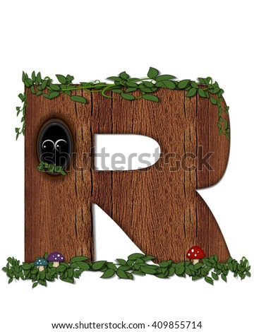 """The letter R, in the alphabet set """"Log"""" is filled with wood texture.  Vines and colorful mushrooms grow around letter.  Some letters have knot holes with peeking eyes. - stock photo"""