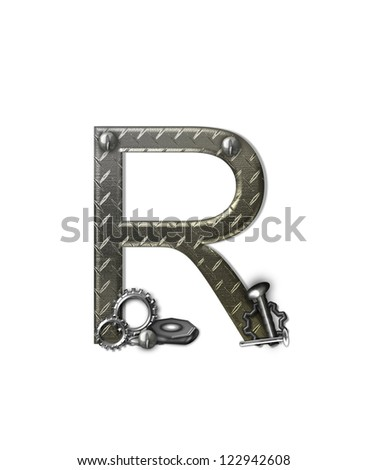 "The letter R, in the alphabet set ""Metal Shop"", is a chrome colored letter with etched texture.  Letter is decorated with nuts, bolts and screws.  Top of letter has rivets."