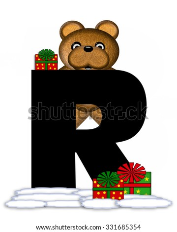 """The letter R, in the alphabet set """"Teddy Christmas,"""" is black and sits on pile of snow.  Teddy Bear and presents decorate each letter. - stock photo"""