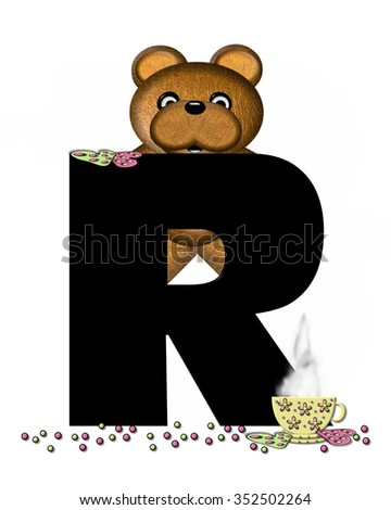 """The letter R, in the alphabet set """"Teddy Tea Time,"""" is black.  Teddy bear enjoys a cup of hot tea with heart shaped and frosted cookies.  Candy sprinkles cover floor. - stock photo"""