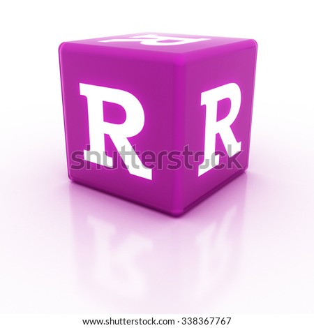 The letter R on the cube. Multicolored alphabet on cubes.