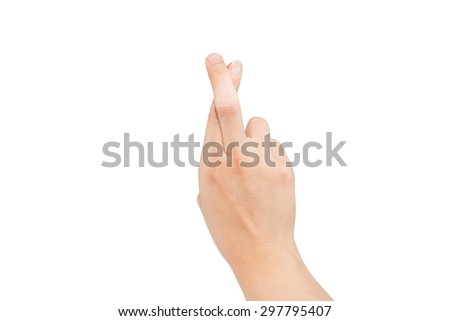 The letter R using American Sign Language