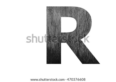 "The letter ""R"" with plantation swamp (black and white) insided"