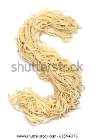 The letter S in spaghetti - stock photo