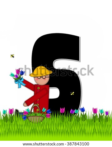 "The letter S, in the alphabet set ""Children Tulip Patch"" is black outlined with white.  Children hold tulip bouquet and stand in colorful tulip patch. - stock photo"
