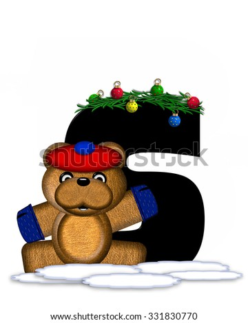 """The letter S, in the alphabet set """"Teddy Christmas Boughs,"""" is black and sits on pile of snow.  Teddy Bear wearing cap and mittens, decorates letter with Christmas boughs and ornaments. - stock photo"""