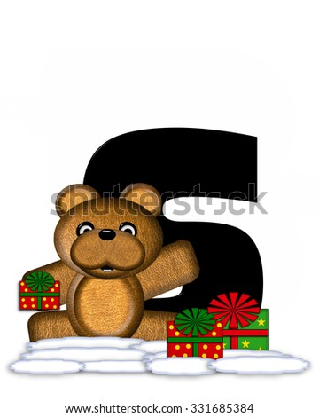 """The letter S, in the alphabet set """"Teddy Christmas,"""" is black and sits on pile of snow.  Teddy Bear and presents decorate each letter. - stock photo"""