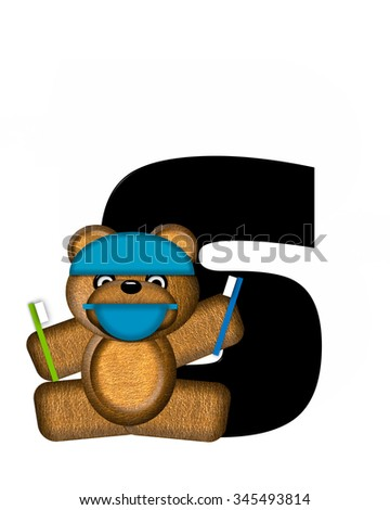 "The letter S, in the alphabet set ""Teddy Dental Checkup,"" is black.  Teddy bear wearing a dental mask and hat represents dentist holding various dental tools.   - stock photo"