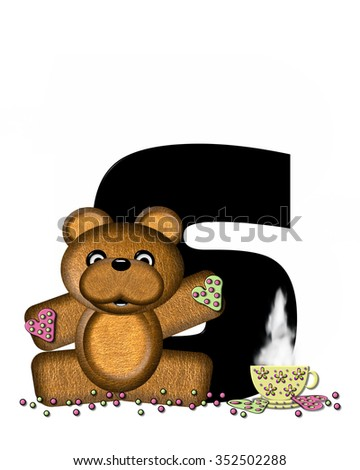 """The letter S, in the alphabet set """"Teddy Tea Time,"""" is black.  Teddy bear enjoys a cup of hot tea with heart shaped and frosted cookies.  Candy sprinkles cover floor. - stock photo"""