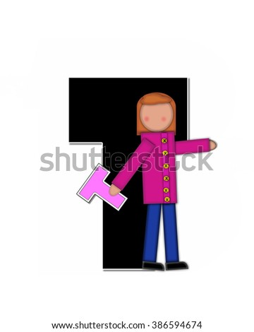 "The letter T, in the alphabet set ""Children Playing ABCs"" is black outlined with white.  Children hold up colorful, matching, alphabet letter. - stock photo"