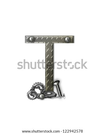 """The letter T, in the alphabet set """"Metal Shop"""", is a chrome colored letter with etched texture.  Letter is decorated with nuts, bolts and screws.  Top of letter has rivets. - stock photo"""
