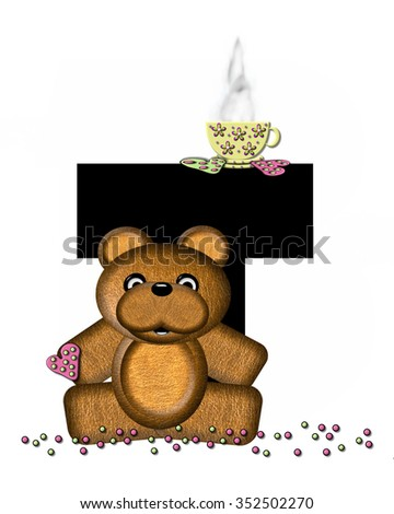 """The letter T, in the alphabet set """"Teddy Tea Time,"""" is black.  Teddy bear enjoys a cup of hot tea with heart shaped and frosted cookies.  Candy sprinkles cover floor. - stock photo"""