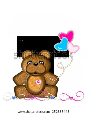 """The letter T, in the alphabet set """"Teddy Valentine's Cutie,"""" is black.  Brown teddy bear holds heart shaped balloons in pink and blue.  String of pearls serve as string. - stock photo"""