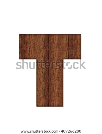 "The letter T, in the alphabet set ""Wood Grain"" resembles paneling or finished wood grain. - stock photo"