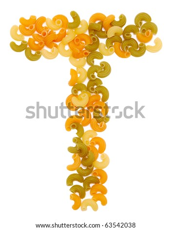 the letter T of pasta isolated on white - stock photo