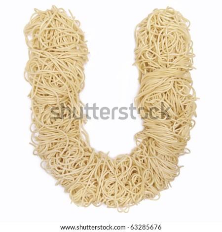 The letter U in spaghetti - stock photo