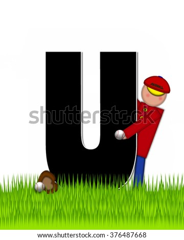 """The letter U, in the alphabet set """"Children Baseball"""" is black and trimmed with white.  Child is playing baseball in a field of green grass.  Equipment includes bat, ball and glove. - stock photo"""