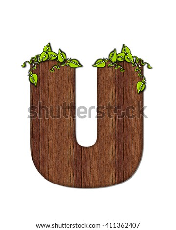 "The letter U, in the alphabet set ""Woodsy,"" is filled with wood grain and resembles a tree. Three dimensional vines are spread across top of letter."