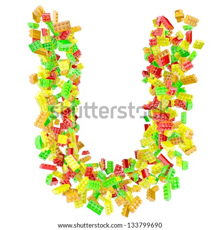 The letter U is made up of children's blocks. Isolated render on a white background - stock photo