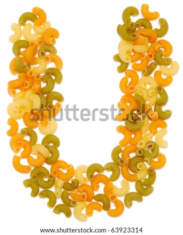 the letter U of pasta isolated on white - stock photo