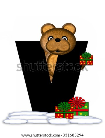 """The letter V, in the alphabet set """"Teddy Christmas,"""" is black and sits on pile of snow.  Teddy Bear and presents decorate each letter. - stock photo"""