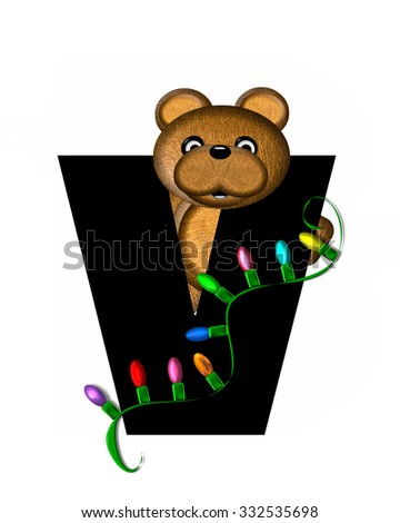 """The letter V, in the alphabet set """"Teddy Christmas Lights,"""" is black. Teddy Bear holds a string of Christmas lights and decorates letter. - stock photo"""