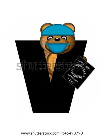 "The letter V, in the alphabet set ""Teddy Dental Checkup,"" is black.  Teddy bear wearing a dental mask and hat represents dentist holding various dental tools.   - stock photo"