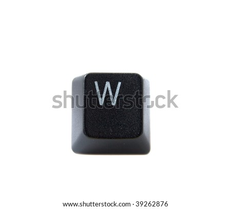 The letter W from a black computer keyboard