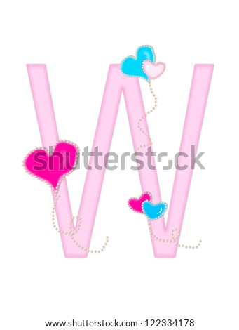 """The letter W, in the alphabet set """"Heart of Valentine"""", is soft pink.  Heart balloons, outlined with pearl beads, float across letter.  Long, curly strings dangle from balloons. - stock photo"""