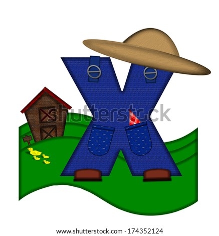 """The letter X, in the alphabet set """"Down on the Farm,"""" is dressed in denim overalls complete with pockets.  Letter sits on farm scene with rolling hills, barn, and ducks. - stock photo"""