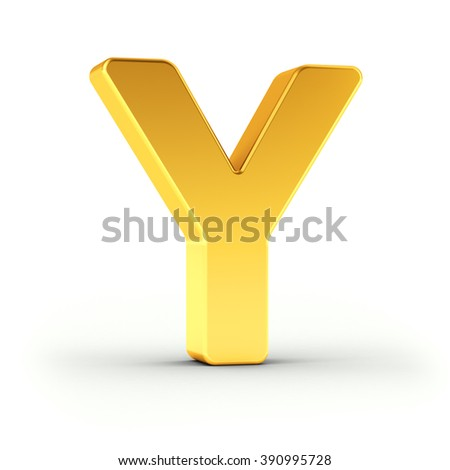 The Letter Y as a polished golden object over white background with clipping path for quick and accurate isolation. - stock photo