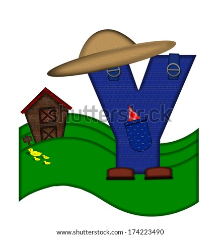 """The letter Y, in the alphabet set """"Down on the Farm,"""" is dressed in denim overalls complete with pockets.  Letter sits on farm scene with rolling hills, barn, and ducks. - stock photo"""